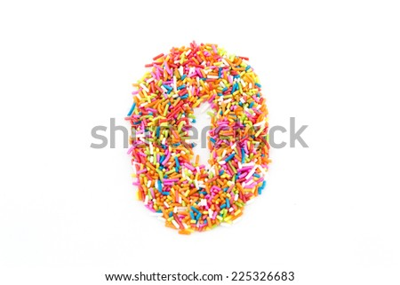 Colorful candy sprinkles number zero isolated on white background - stock photo