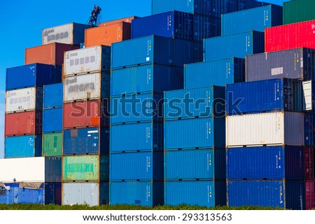 Colorful cargo containers in Port of Rotterdam - stock photo