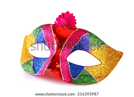 colorful carnival mask isolated on white  - stock photo
