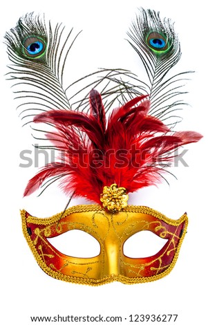Colorful carnival mask on a white background - stock photo