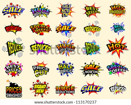 Colorful cartoon text captions. Sale and special offer. - stock photo
