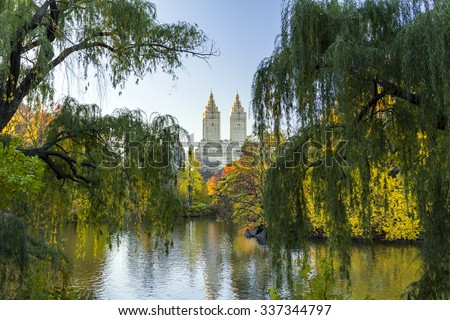 Colorful Central Park Fall landscape scene in Manhattan, New York City - stock photo