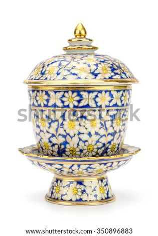 Colorful ceramic ware handcraft bowl isolated on white background - stock photo