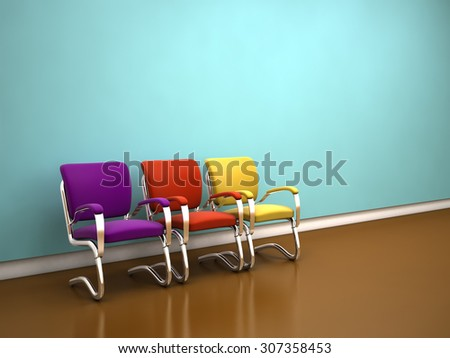 colorful chairs near blue wall - stock photo