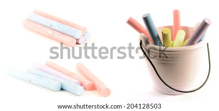 colorful chalks in a bucket isolated on white  - stock photo