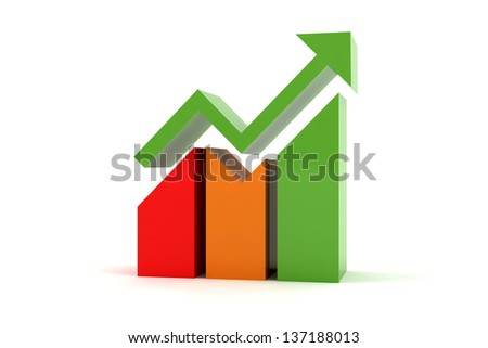 Colorful chart graph increasing - stock photo
