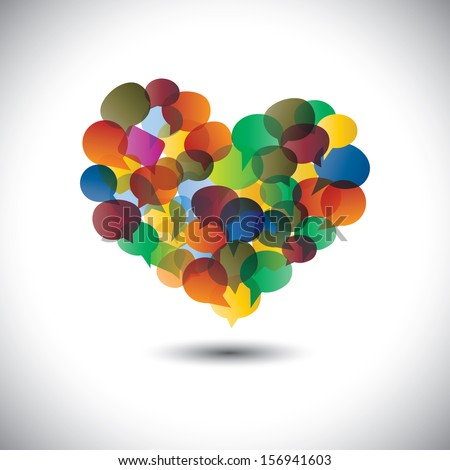 Colorful chat icons & speech bubbles as love symbol- concept graphic. This graphic represents student community, social media communication or online chats and dialogs, discussions, etc  - stock photo