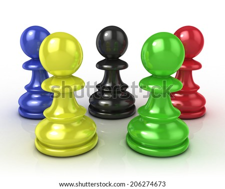Colorful chess pawns - stock photo