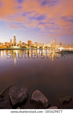 Colorful Chicago sunset and Lake Michigan - stock photo