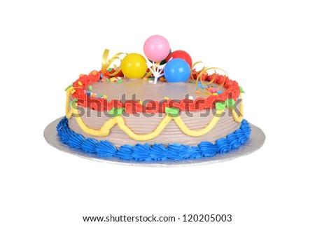 colorful child birthday cake - stock photo