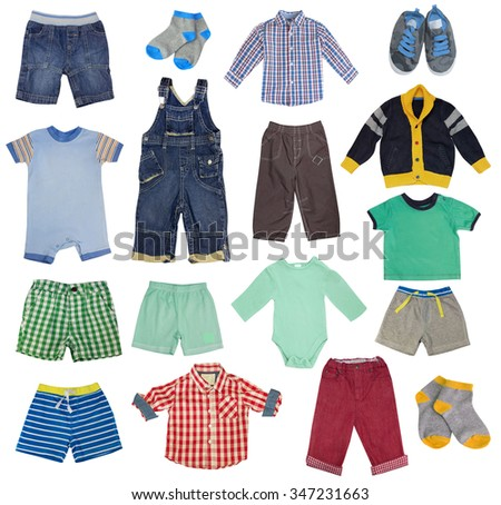 Colorful child boy clothes set isolated on white. Collage of male kid clothing on white background. - stock photo