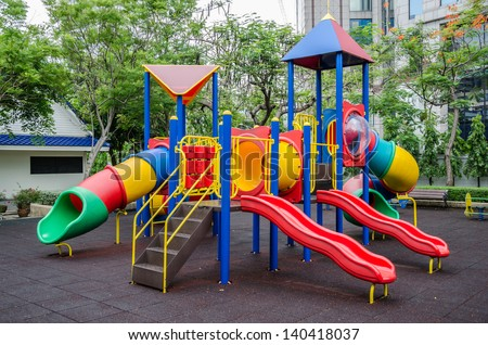 Colorful children's playground at public park ,Bangkok - stock photo