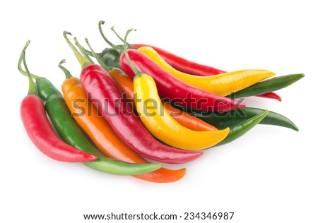 colorful chili peppers - stock photo