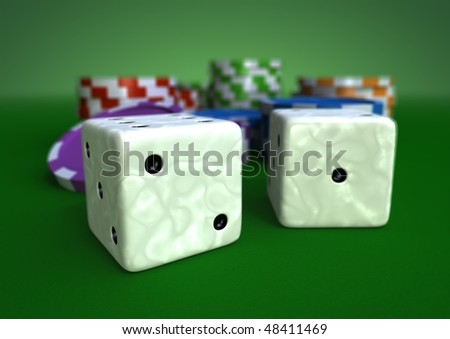 colorful chips on a green table with closeup of two white ivory dices - stock photo