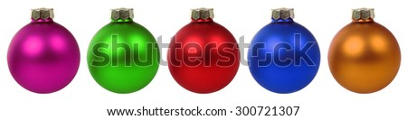 Colorful Christmas balls baubles in a row isolated on a white background - stock photo