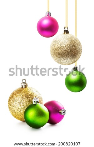 Colorful christmas balls collection on white background - stock photo