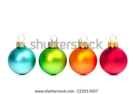 colorful christmas balls on white background - stock photo