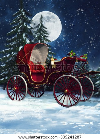 Colorful Christmas carriage in a winter forest at night - stock photo