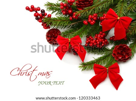 colorful christmas composition with pine branches on white background with removable text - stock photo