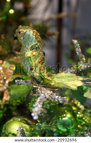 Colorful christmas decoration (green bird) - stock photo
