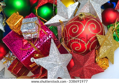 Colorful Christmas ornaments-Christmas balls gift box with five-pointed star - stock photo