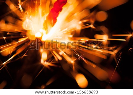 colorful christmas sparkler - stock photo