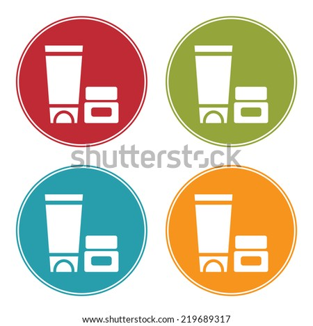 Colorful Circle Cosmetic Container Icon, Sign or Symbol Isolated on White Background  - stock photo