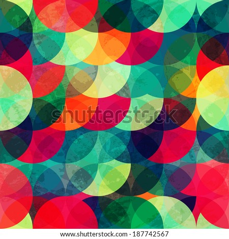 colorful circle seamless pattern with grunge effect (raster version) - stock photo