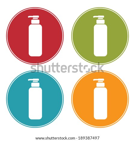 Colorful Circle Shampoo, Shower Gel, Lotion or Liquid Soap Dispenser Pump Icon, Sign or Symbol Isolated on White Background  - stock photo