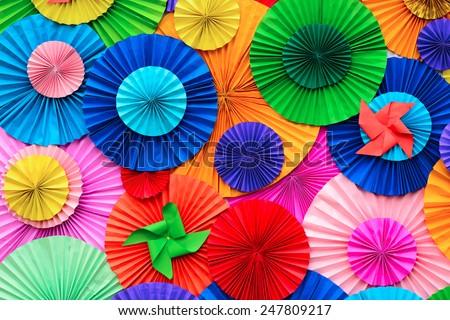 Colorful Circle shape folding paper background  - stock photo