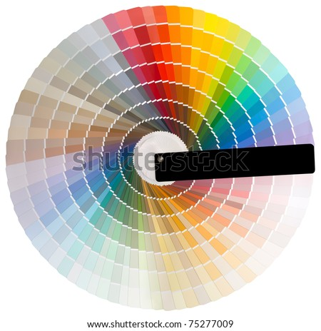 Colorful circle swatch with facade colors isolated with clipping path - stock photo