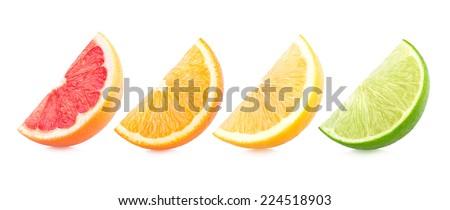 colorful citrus slices - stock photo