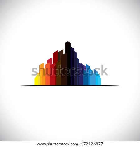 Colorful city downtown icon of tall commercial buildings - graphic. The abstract illustration of a metropolis  contains high rises & tall towers in colors like red, orange, black, blue, etc - stock photo