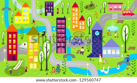 Colorful city with river - raster - stock photo