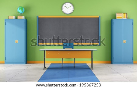 Colorful classroom with blackboard, teacher's desk and two metal cabinets  - rendering - stock photo