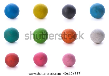 Colorful clay for children isolated on white background. - stock photo