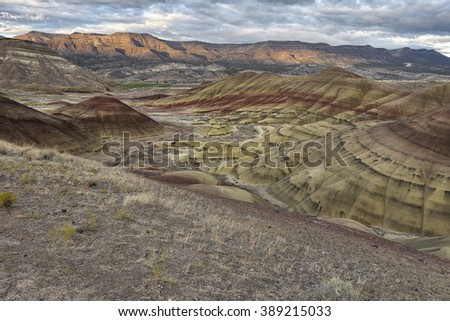 Colorful clay patterns in the Painted Hills, Oregon - stock photo