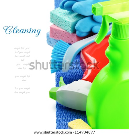 Colorful cleaning products isolated over white - stock photo