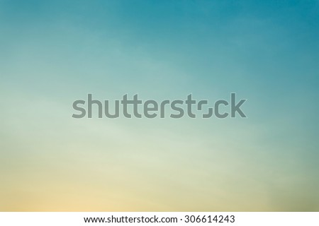 colorful clear sky, blue and orange sunset sky, vintage sky background - stock photo