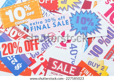 Colorful clipped multi valued grocery coupons - stock photo