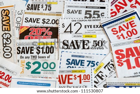 Colorful clipped multi valued grocery coupons. Supermarket shopping. - stock photo