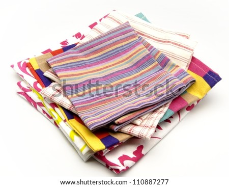 Colorful cloth napkins - stock photo