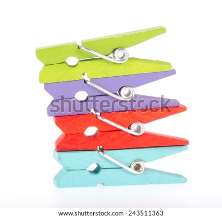 Colorful clothespin isolated on white background - stock photo