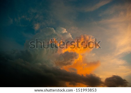 colorful cloud on sunset period - stock photo