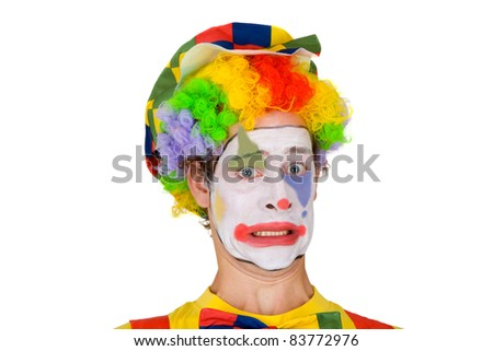 Colorful Clown isolated on whtie background - stock photo