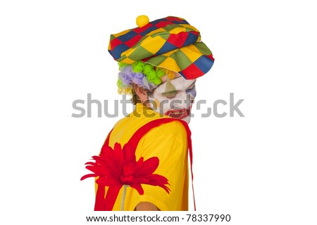 Colorful clown with red flower isolated on white background - stock photo