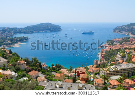 colorful coast and turquiose water of cote dAzur, France - stock photo