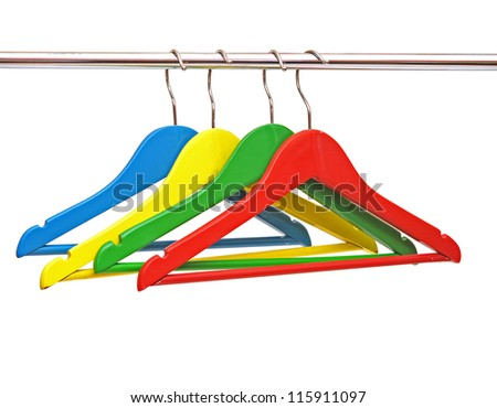 colorful coats hanger isolated on white - stock photo