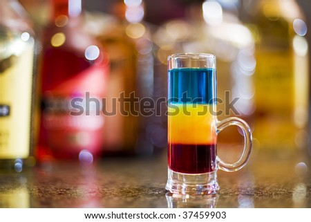 Colorful cocktail on  bar - stock photo