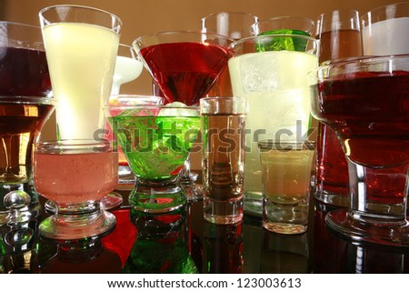 Colorful cocktail variety - stock photo